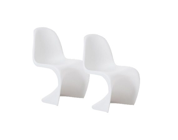 Set of 2 Panton Chairs (white), Vitra