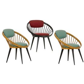 Set 3 Round Lounge Chairs, Yngve Ekstrom - Deesup