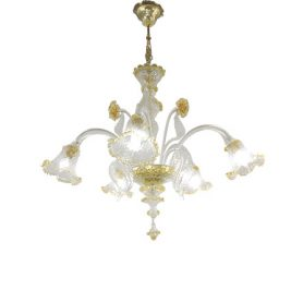 Gold glass chandelier (5 lights), Masi - Deesup