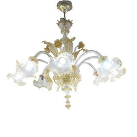 Gold glass chandelier (8 lights), Masi - Deesup
